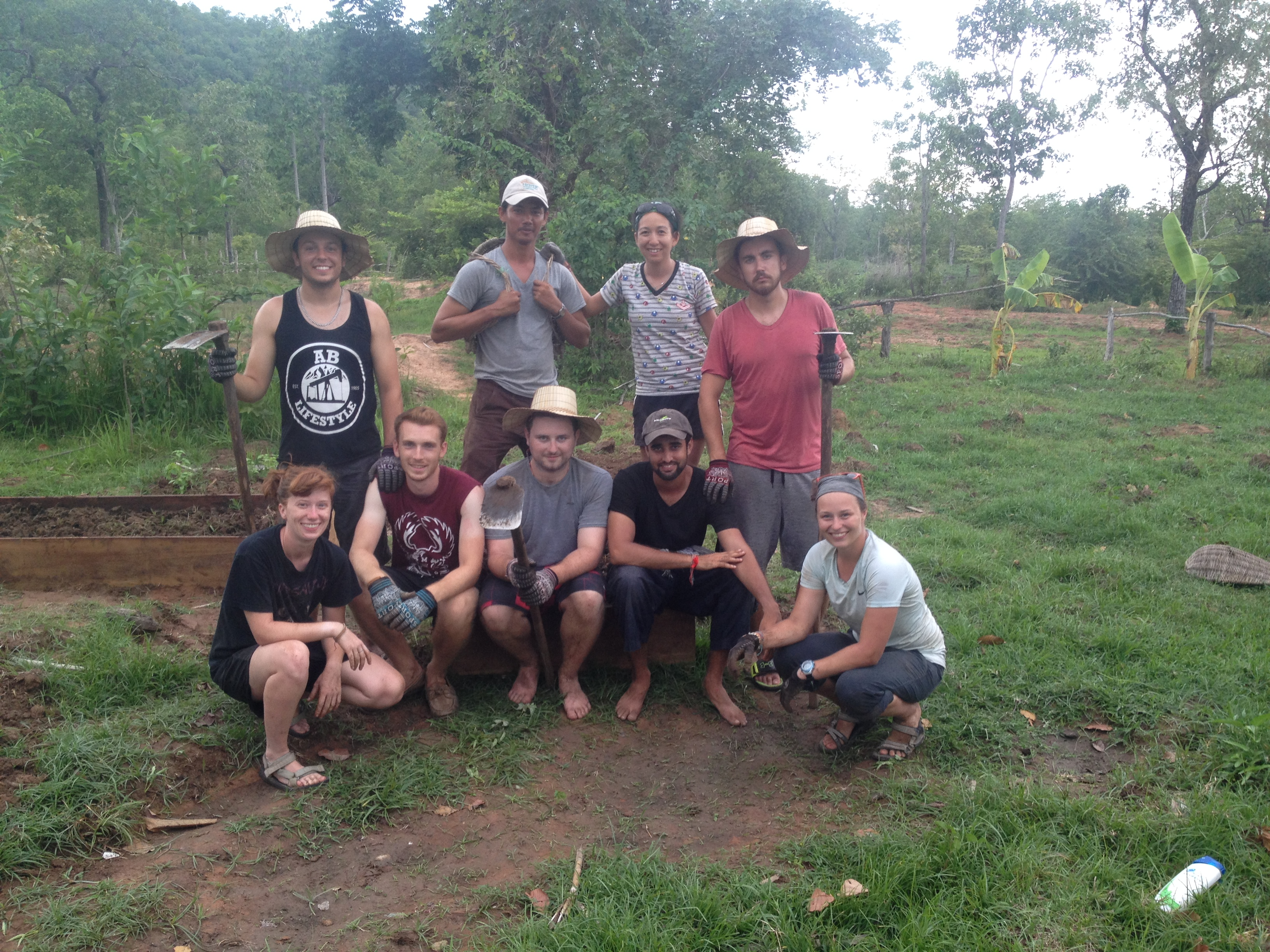 The OG team together at Ockenden's permaculture farm in Cambodia