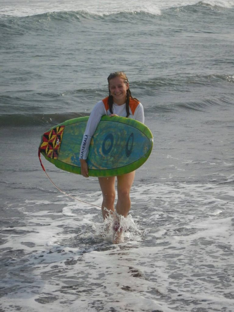 Megan in Guatemala with Operation Groundswell surfing